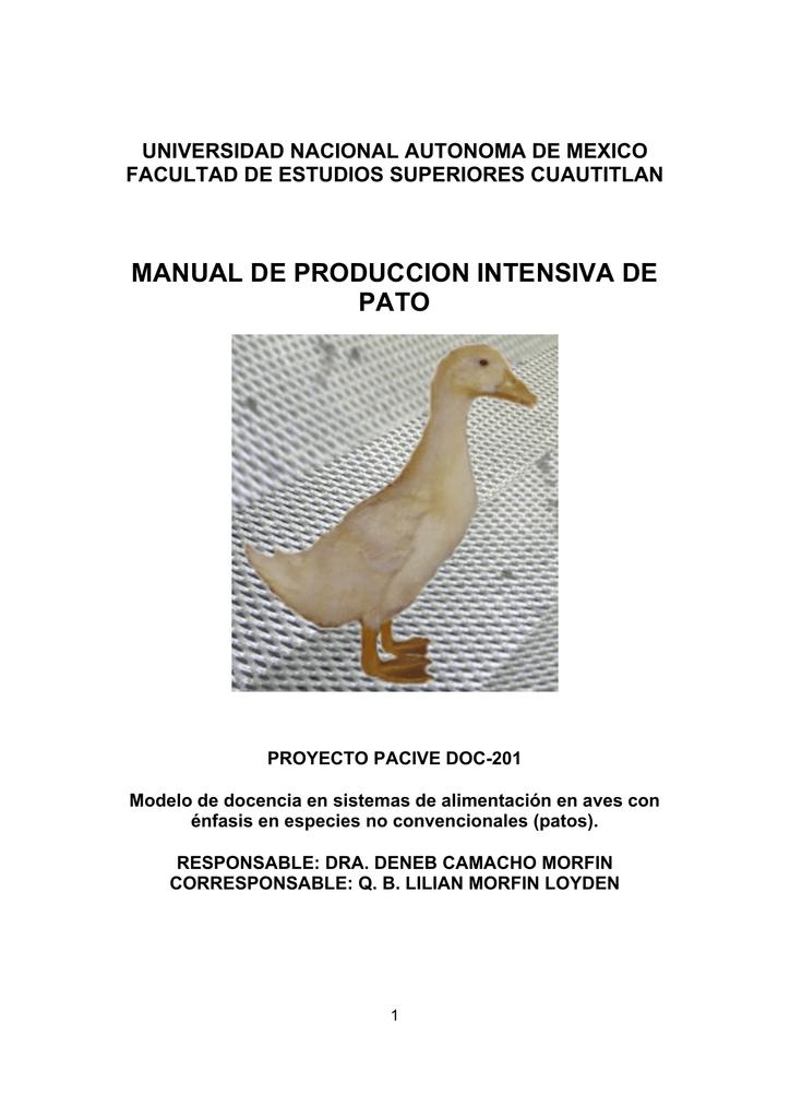MANUAL DE PRODUCCION INTENSIVA DE PATO