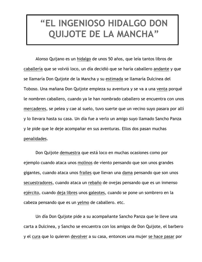 Breve Resumen De Don Quijote