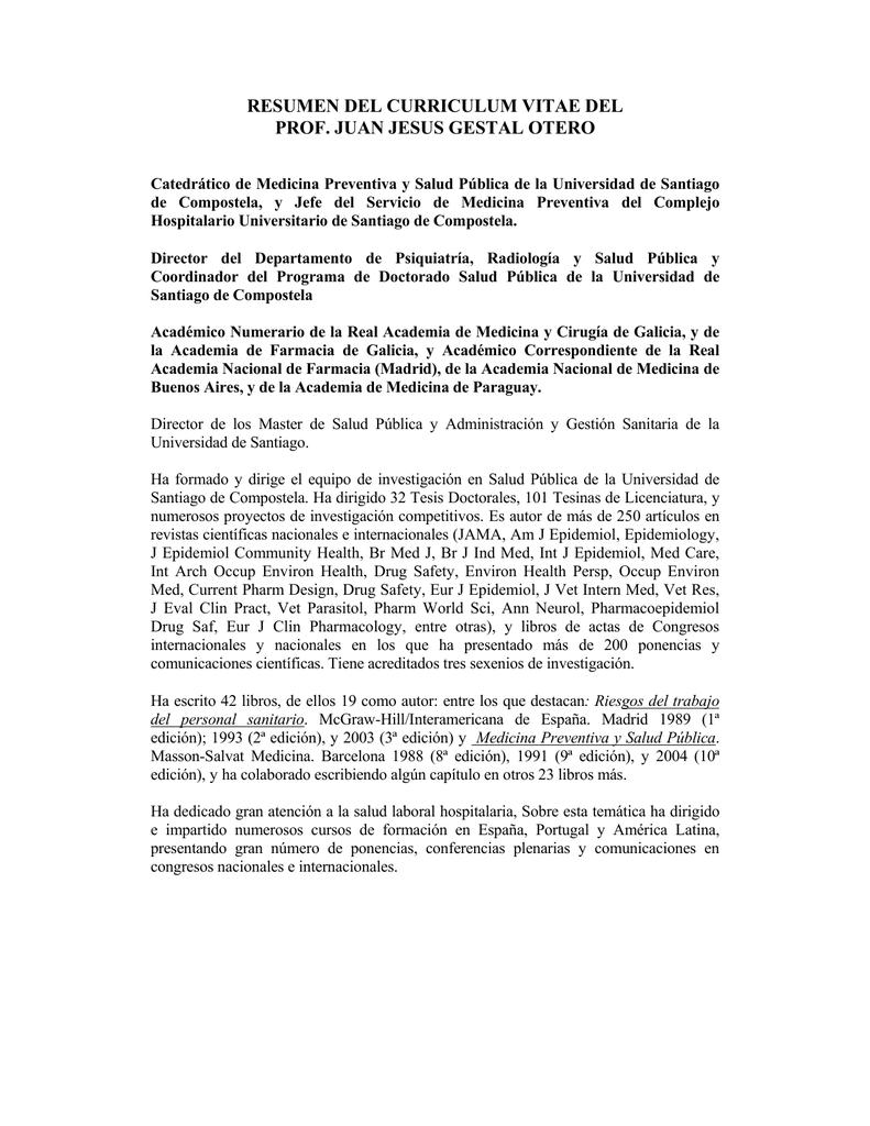 resumen del curriculum vitae del prof. juan jesus gestal otero
