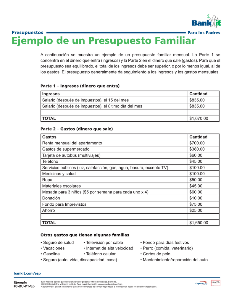 presupuesto familiar ejemplo - Paso.evolist.co