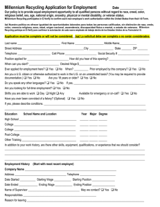 Millennium Recycling Application for Employment
