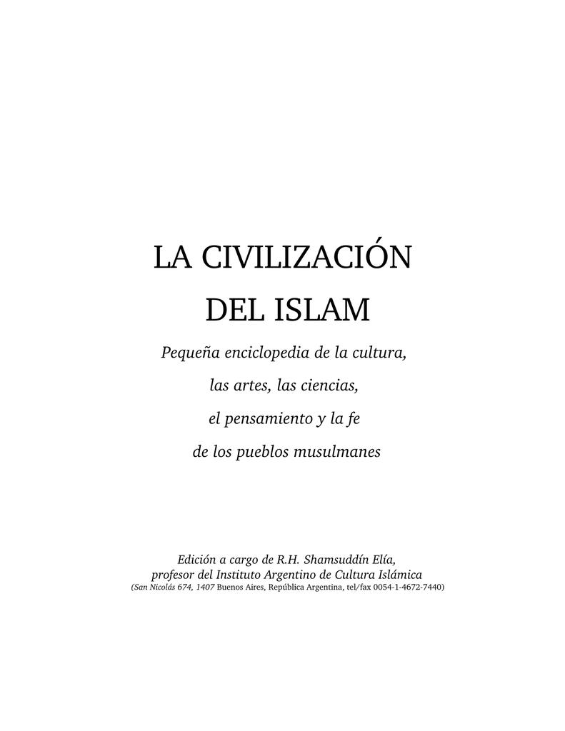 la civilización del islam - corporacion de cultura y beneficencia