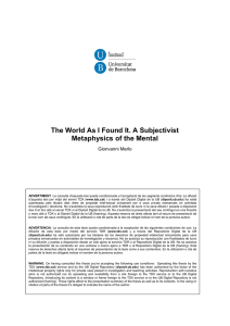 The World As I Found It. A Subjectivist Metaphysics of the Mental