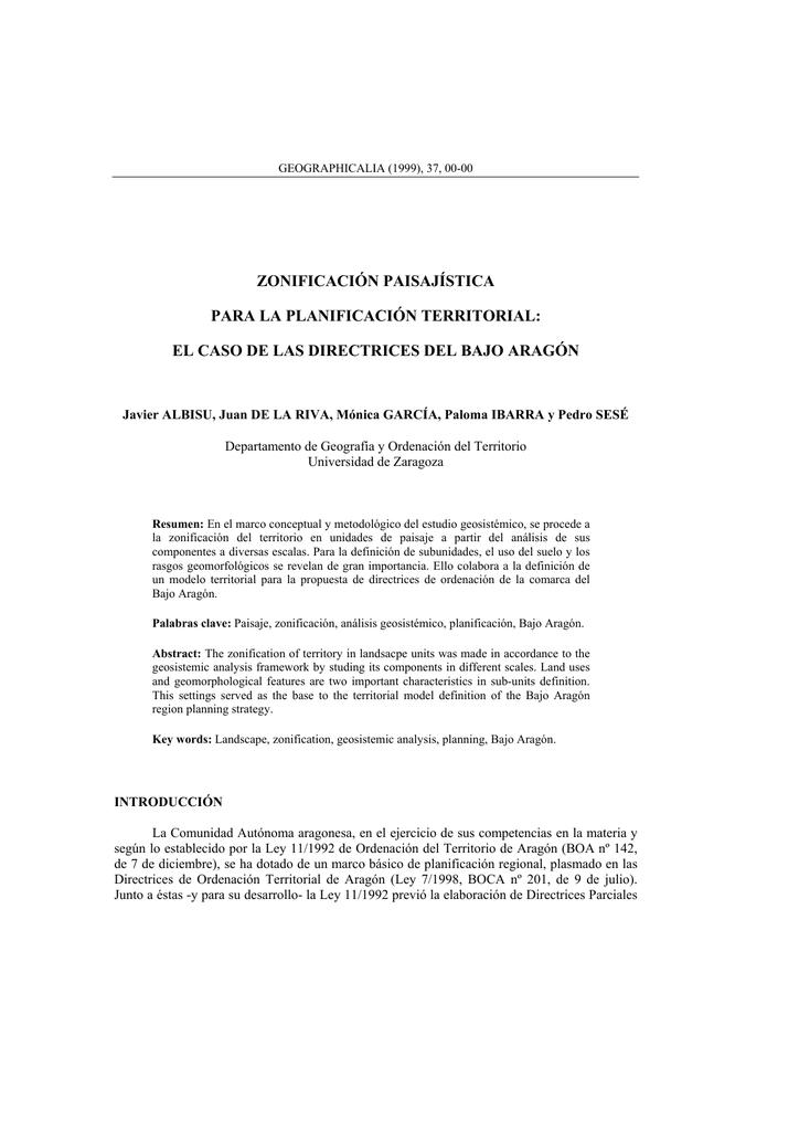zonificación paisajística para la planificación territorial