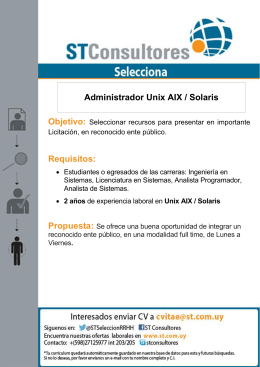 Requisitos: Administrador Unix AIX / Solaris