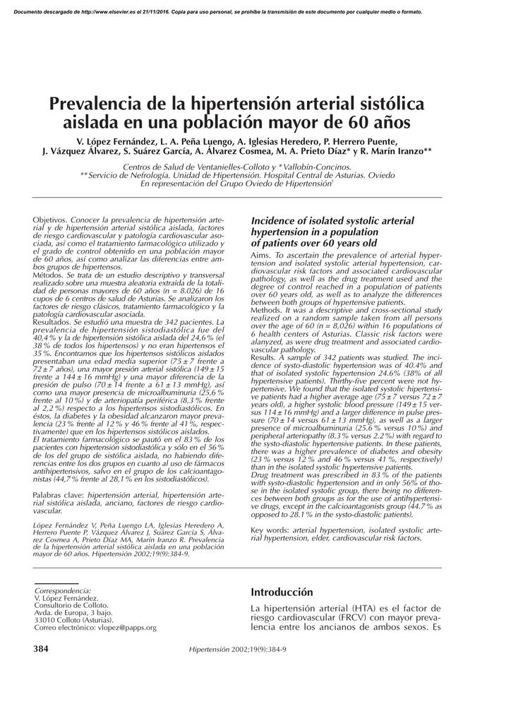 Prevalencia de hipertensión en osa