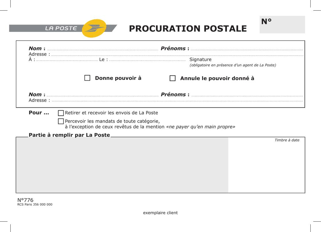 procuration postale - La Poste de Monaco