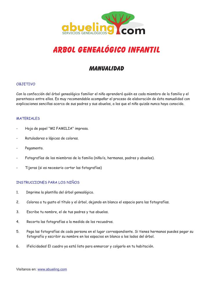 Arbol Infantil Gratis - Árbol Genealógico