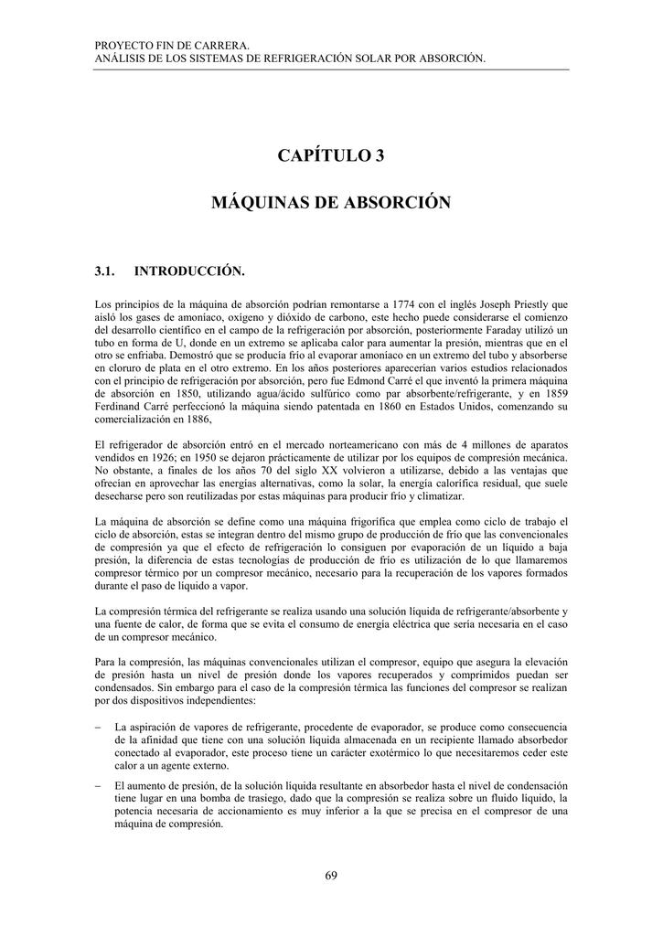 CAPÍTULO 3.0 MAQUINAS DE ABSORCION