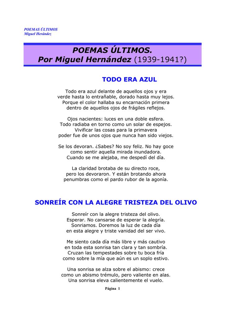 POEMAS ÚLTIMOS  Por Miguel Hernández (1939