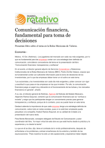 Comunicación financiera, fundamental para toma de decisiones