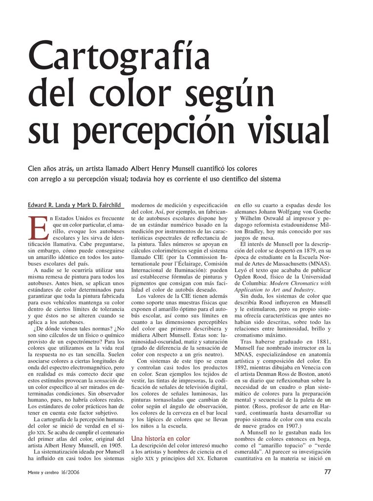 Cartografía del color según su percepción visual