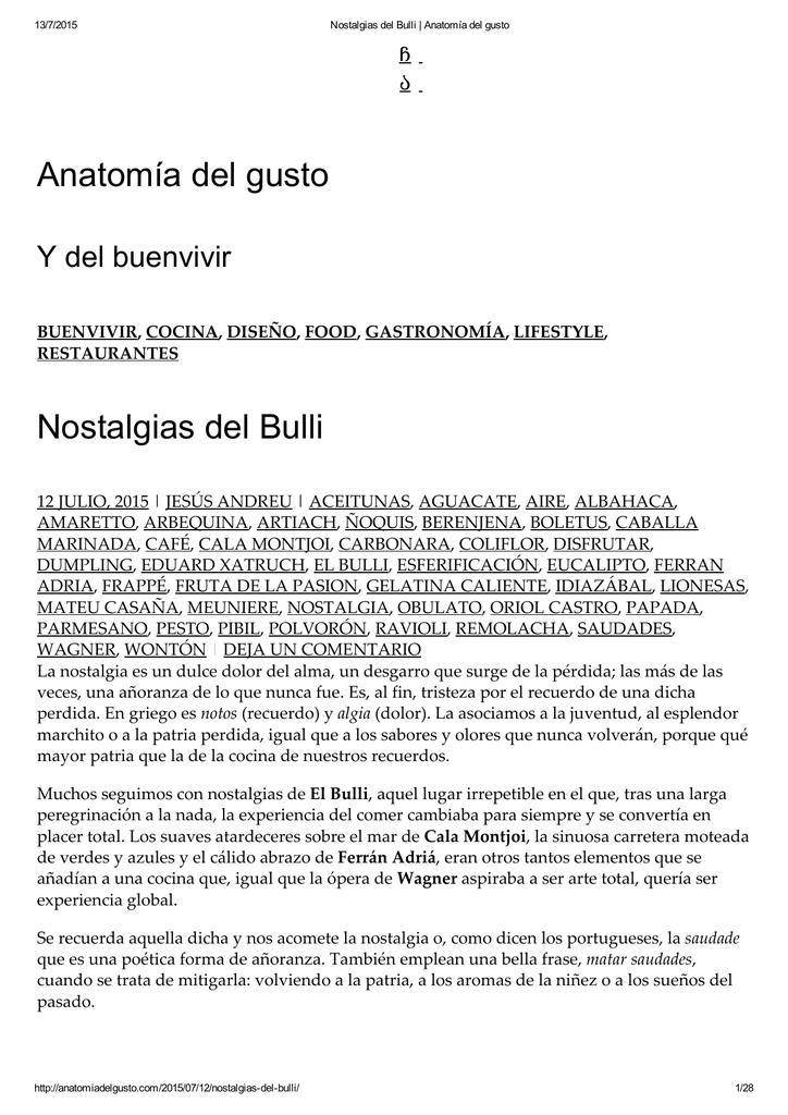 Anatomía del gusto Nostalgias del Bulli