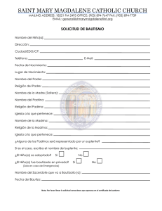 Baptism Form - Saint Mary Magdalene Catholic Church