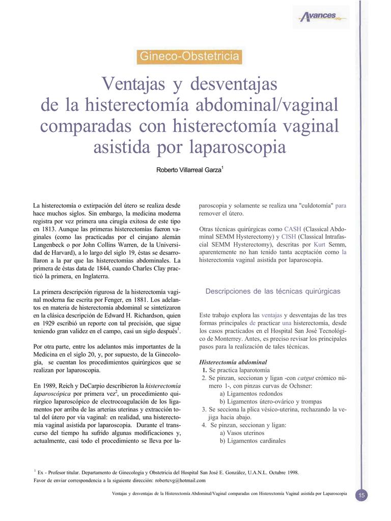cuidados para despues de una histerectomia por laparoscopia