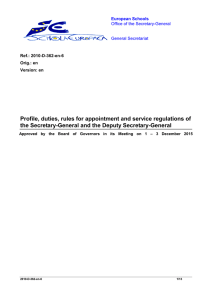 Profile, duties, rules for appointment and service regulations of the