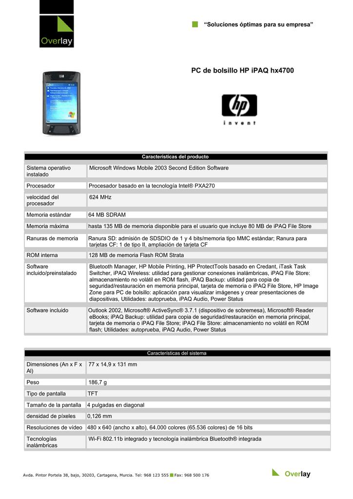 9960970fb4b PC de bolsillo HP iPAQ hx4700 Overlay