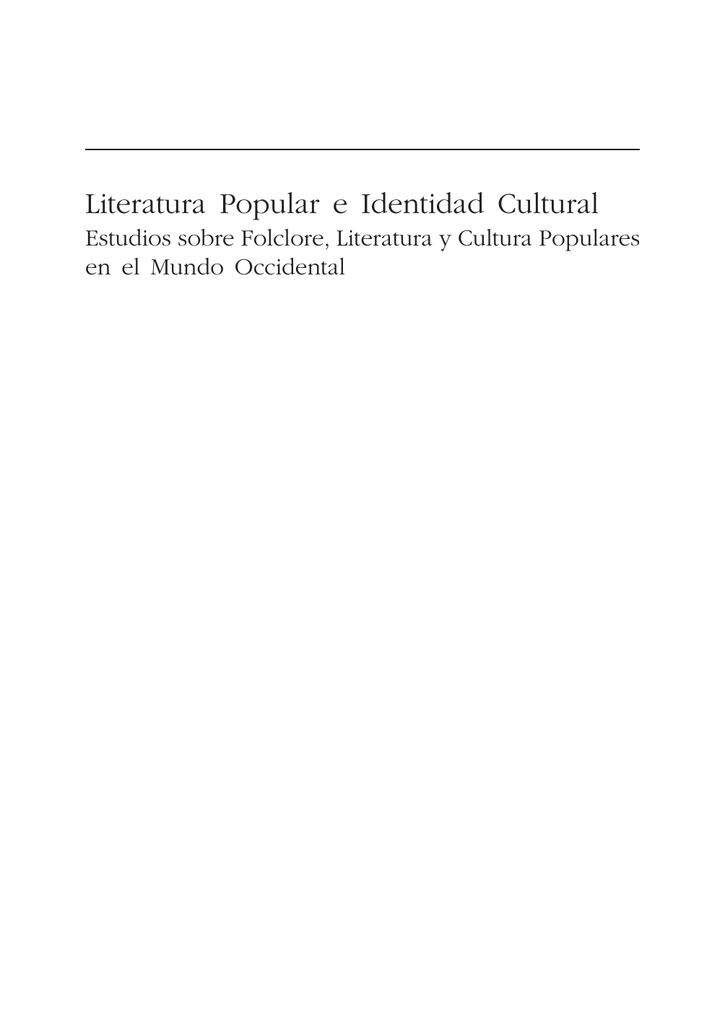 8aa45a5cb8 Literatura Popular e Identidad Cultural