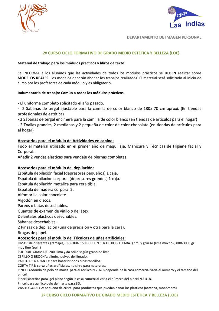 2º CURSO CICLO FORMATIVO DE GRADO MEDIO ESTÉTICA Y 729b59dbe8e