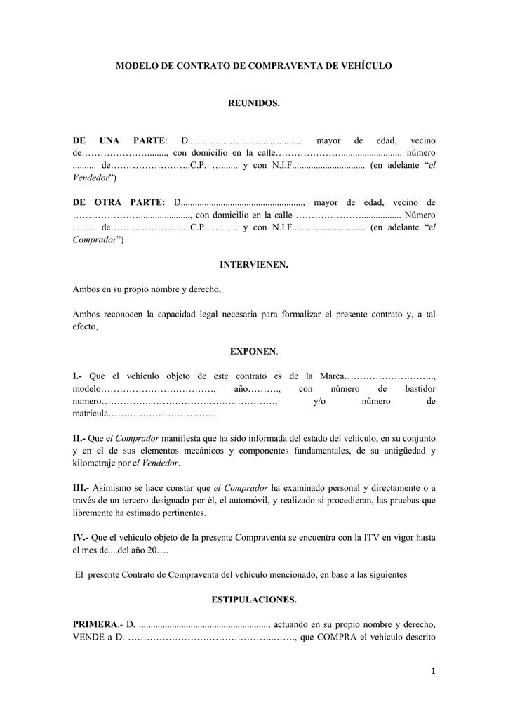 Modelo De Contrato De Compraventa De Vehículo