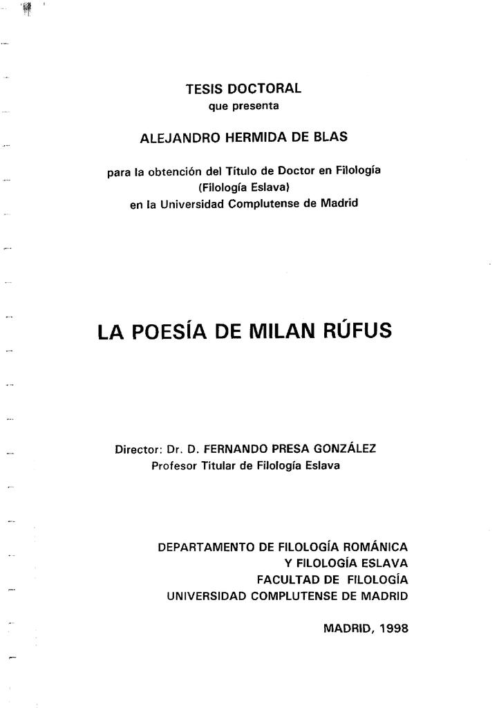 La Poesía De Milan Rúfus Biblioteca Complutense