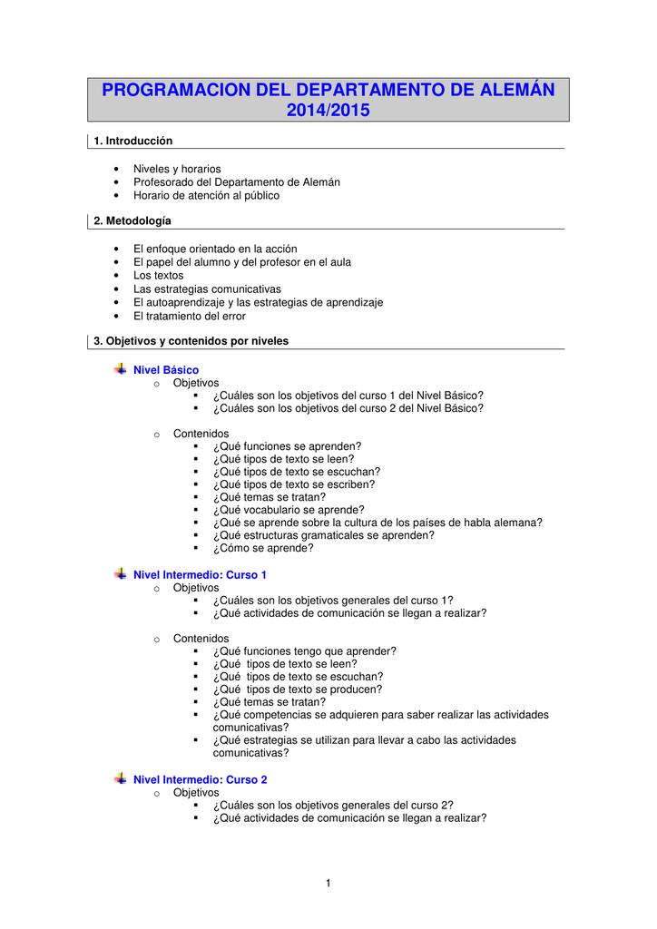 Programacion Del Departamento De Alemán 20142015