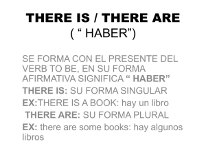 "there is / there are ( "" haber"")"