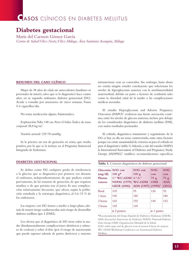 tabla de monitoreo de glucosa en diabetes gestacional