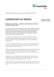 comunicado de prensa - Fraunhofer Chile Research