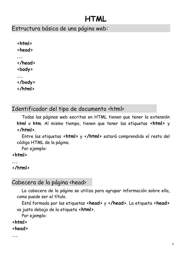 Estructura Básica De Una Página Web Identificador Del Tipo De