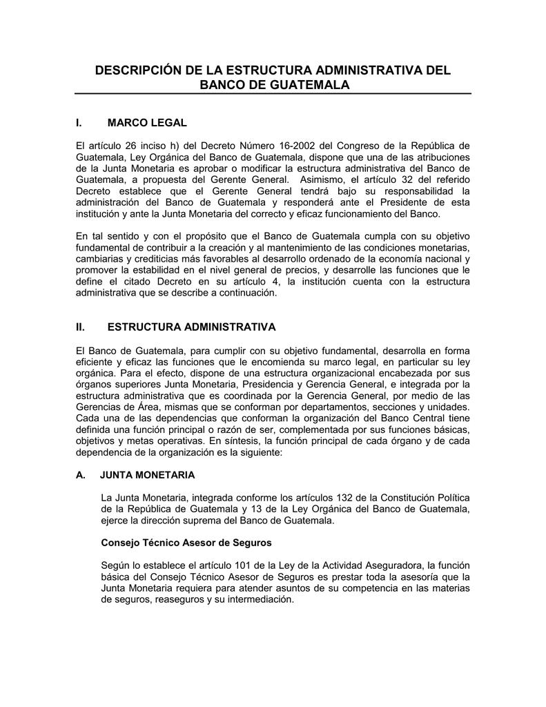 Descripción De La Estructura Administrativa Del Banco De