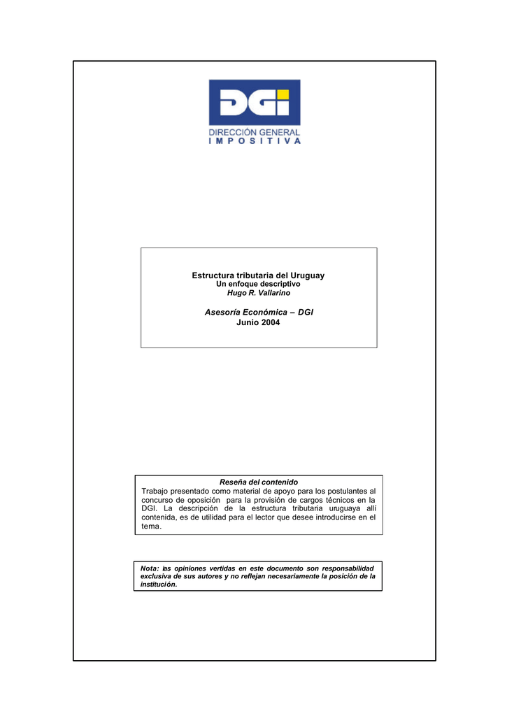 Estructura Tributaria Del Uruguay Asesoría Económica Dgi Junio