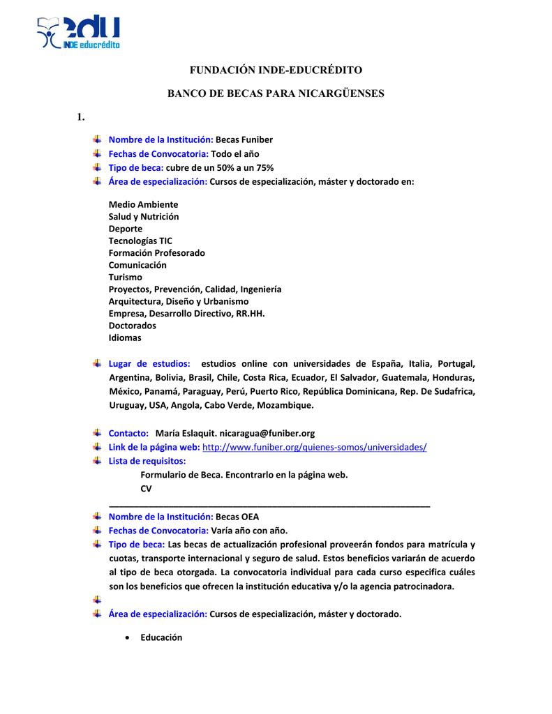 fundación inde-educrédito banco de becas para nicargüenses 1.