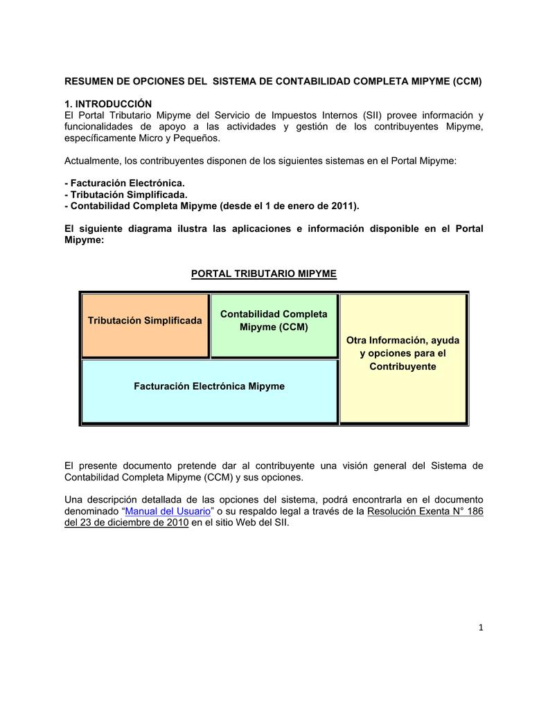 resumen de opciones sistema contabilidad tributaria