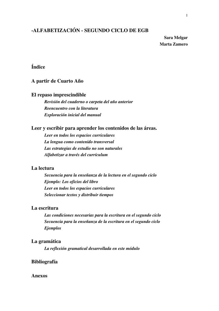 Alfabetización - Segundo Ciclo - Escuela Normal Superior Sarmiento