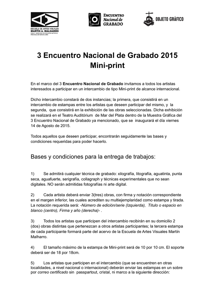 3 Encuentro Nacional de Grabado 2015 Mini-print