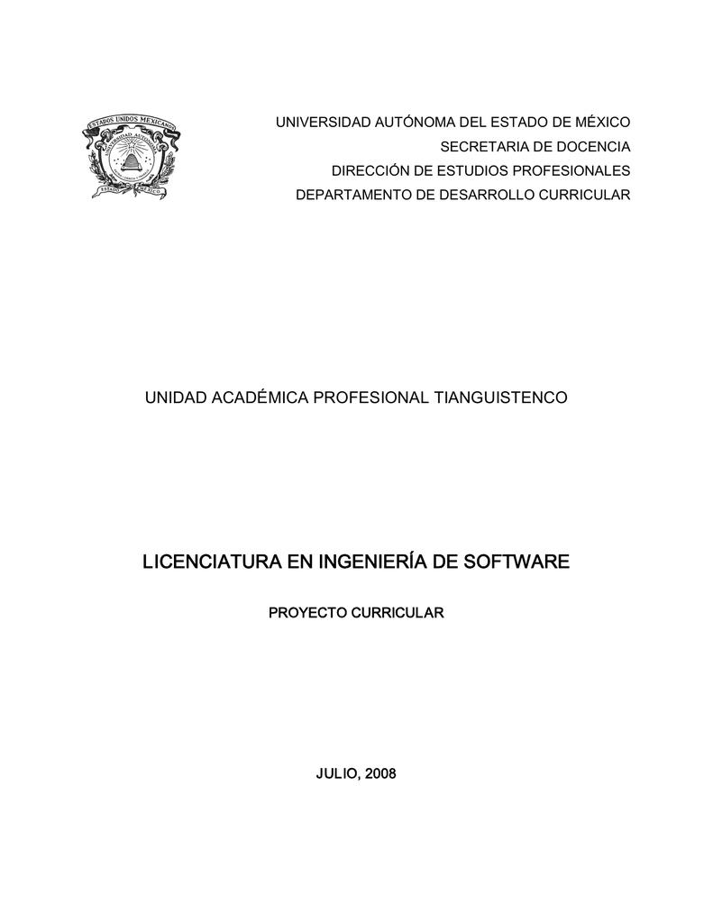 LICENCIATURA EN INGENIERÍA DE SOFTWARE