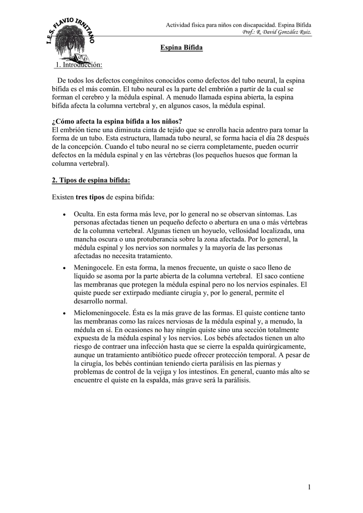Tema 6 Espina Bífida