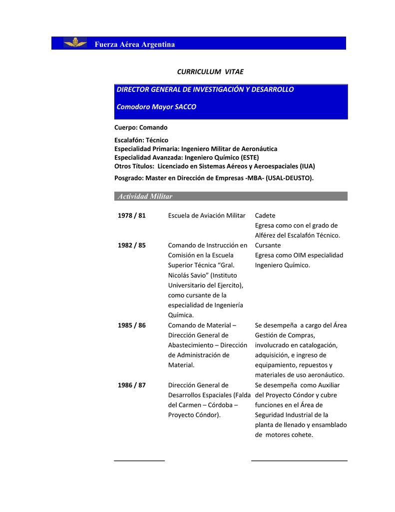 Currículum Vitae - Fuerza Aérea Argentina