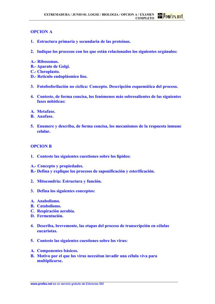 Opcion A 1 Estructura Primaria Y Secundaria De Las Proteínas 2