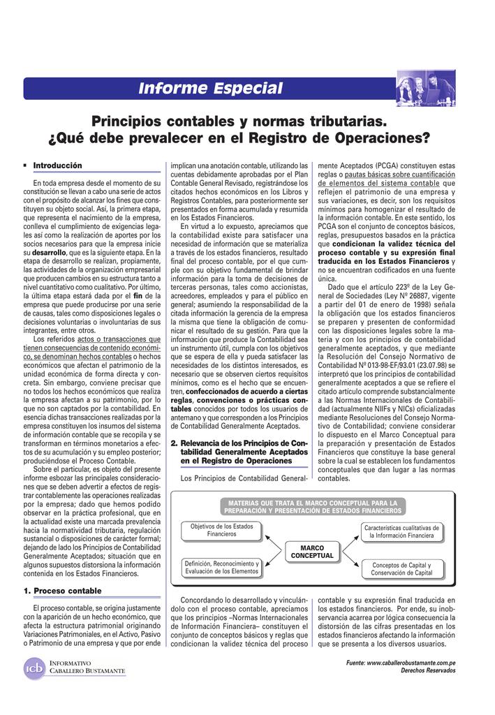 Informe Especial Principios Contables Y Normas Tributarias Qué