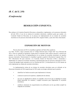 (R. C. del S. 249) (Conferencia) RESOLUCIÓN CONJUNTA