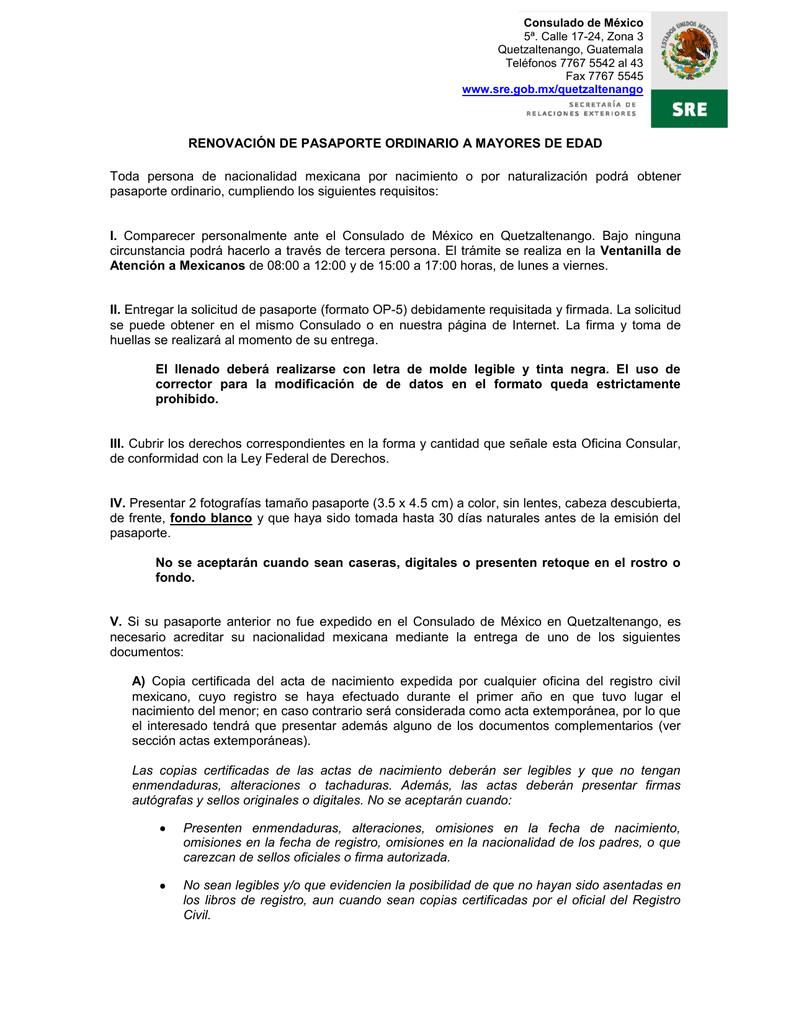 RENOVACIÓN DE PASAPORTE ORDINARIO A MAYORES DE
