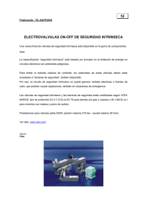 52 ELECTROVALVULAS ON-OFF DE SEGURIDAD INTRINSECA