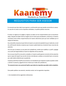 REQUISITOS PARA SER ASESOR