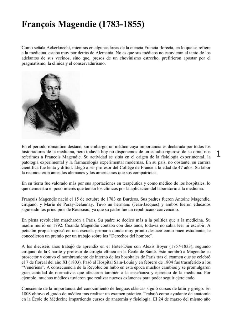 1 François Magendie (1783-1855) - Departamento de Patologia da