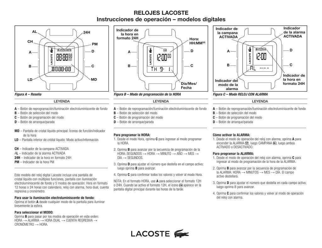 97512624e586 RELOJES LACOSTE Instrucciones de operación