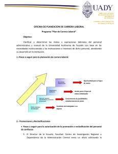 Plan de Carrera Laboral - Coordinación General de Desarrollo