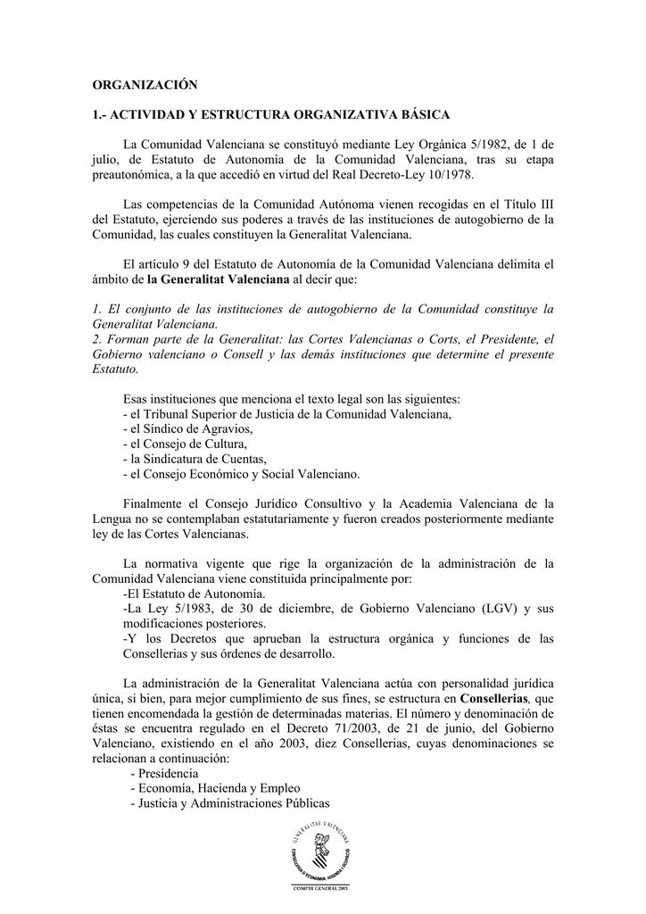 Organización Conselleria De Hacienda Y Modelo Económico