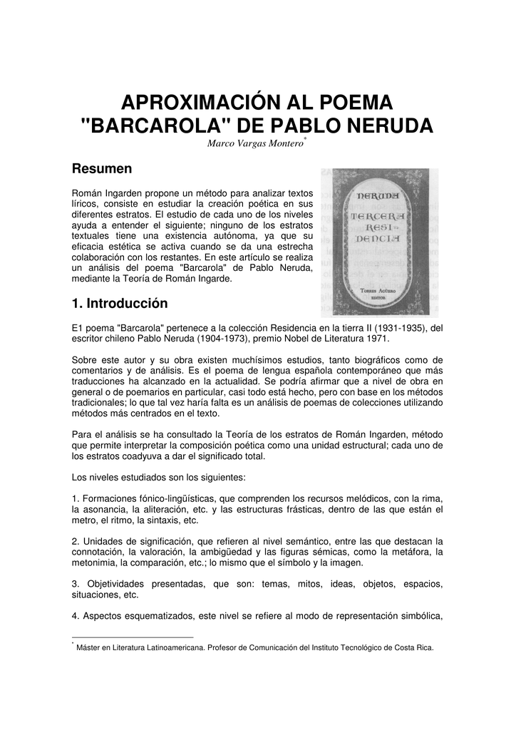 Aproximación Al Poema Barcarola De Pablo Neruda